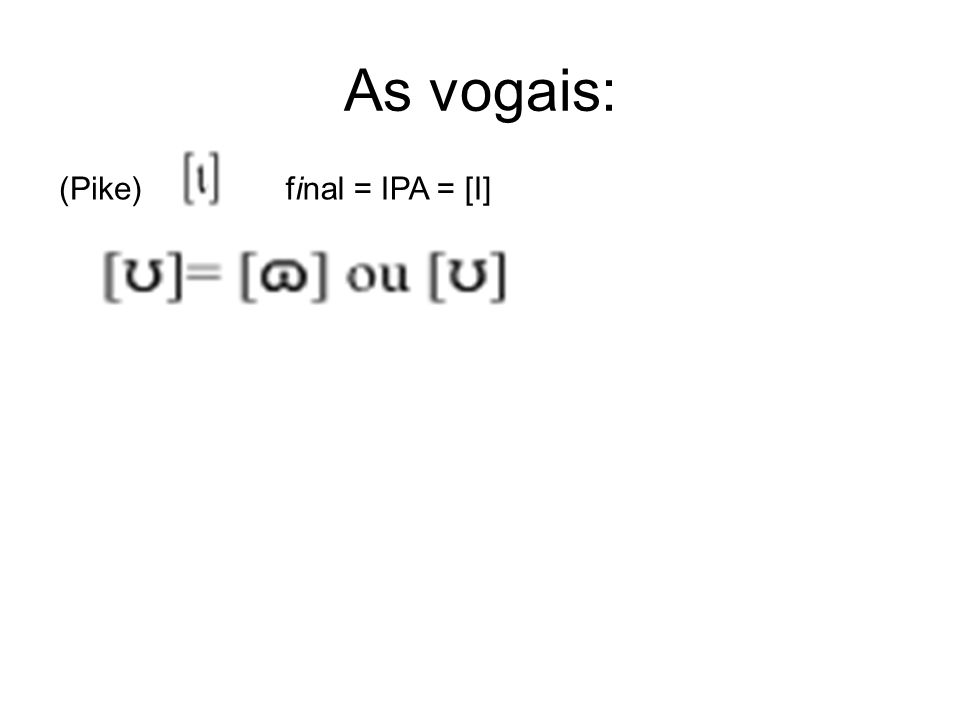 As vogais: (Pike) final = IPA = [I]